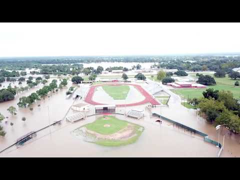 Hurricane Harvey Floods Texas! Columbus, TX Drone Footage
