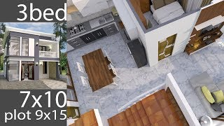 Plan 3d Interior Design Home Plan 7x10m Full Plan 3beds