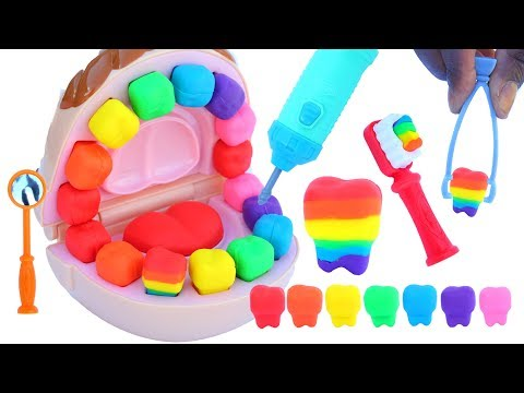 DIY How To Make Play Doh Dr Drill Rainbow Teeth Play Dough Eggs Video For Kids