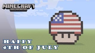 Minecraft: Pixel Art Tutorial and Showcase: 4th of July Mario Mushroom (Independence Day)