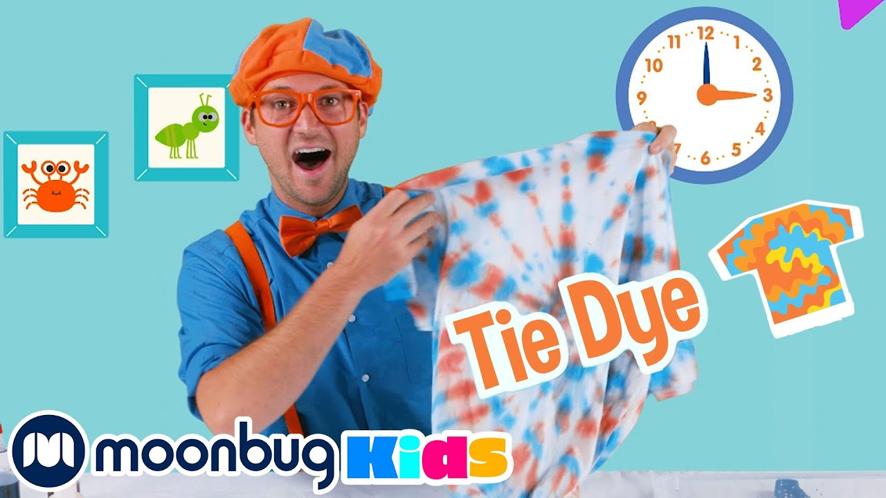 Learn About Colours and Make Dye T-Shirts - Blippi | Kids Cartoons & Nursery Rhymes | Moonbug Kids