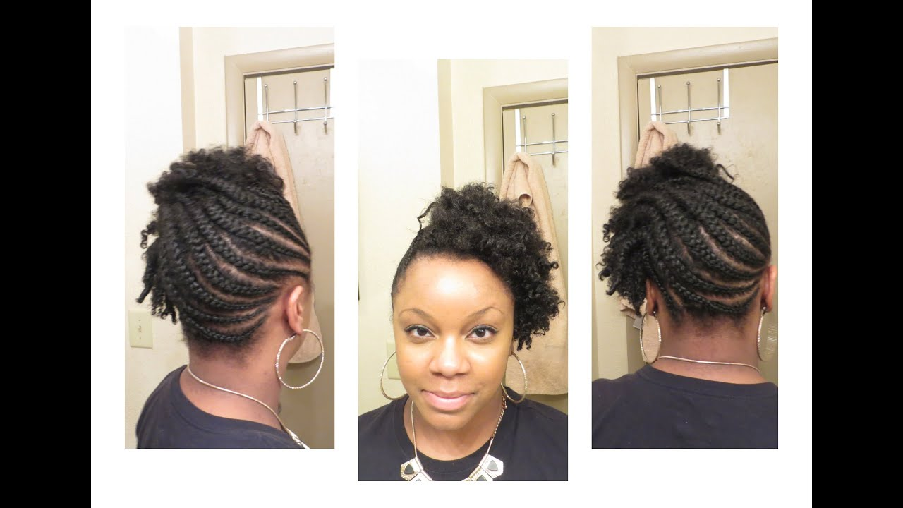 Braided Updo On Short Natural Hair Youtube