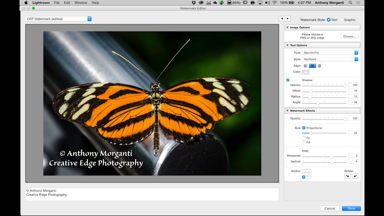 how to make a watermark in lightroom cc