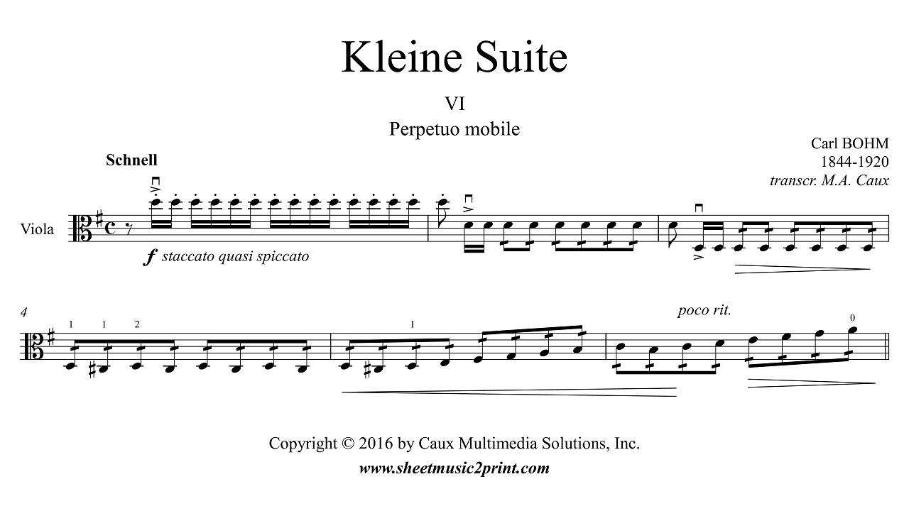 Bohm : Kleine Suite (6/6 : Perpetuo mobile) by Sheetmusic2print