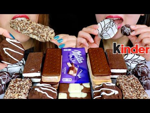 ASMR MILK + WHITE CHOCOLATE ICE CREAM, BROWNIE, KINDER CAKE, MILKA CHOCOLATE 먹방   Kim&Liz ASMR