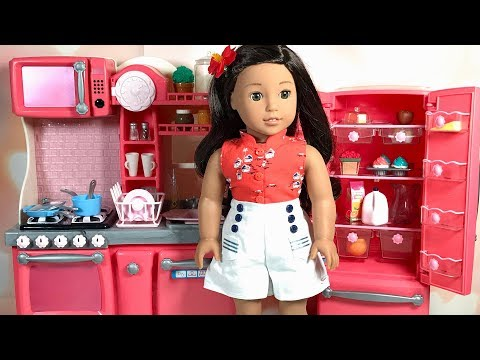 Cooking in Our Generation Gourmet Kitchen with American Girl Doll Nanea Mitchell