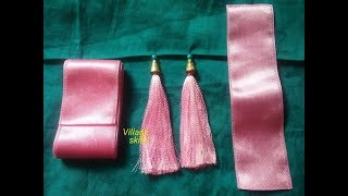 How to make satin ribbon Saree Tassels ,DIY Saree kuchu design #46 ,easy handmade ribbon tassels