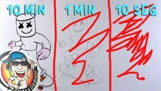 DESAFIO DO DESENHO RÁPIDO (10 MIN  1 MIN 10 SEG) DJ Marshmello
