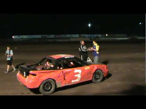 Donno at flag stan at race win Mohave Valley Raceway