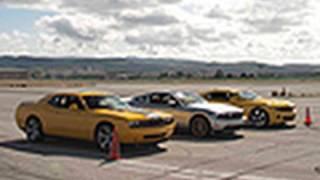 V-8 Pony Car Drag Race! 2011 Mustang GT vs 2010 Camaro SS vs 2010 Dodge Challenger SRT8