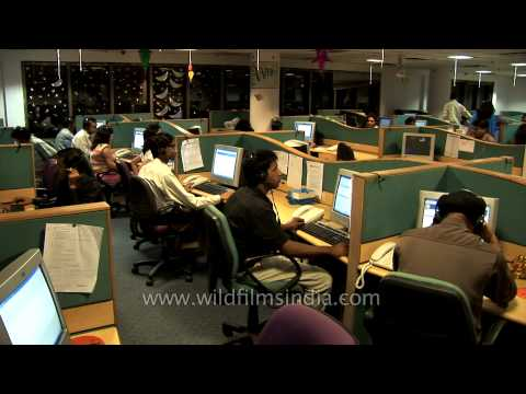 BPO employees at a call center in Gurgaon, India