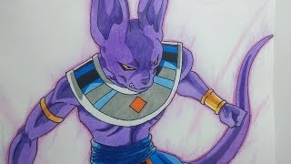 Dibujando a Bills Sama (Dragon Ball Super ). Speed drawing Beerus. how to draw beerus