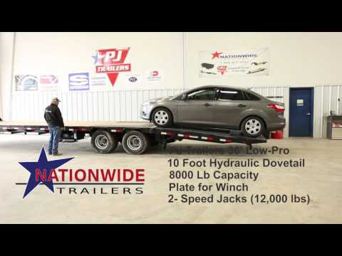 Loading A Car on a PJ Trailer Low-Pro with Hydraulic Dovetail