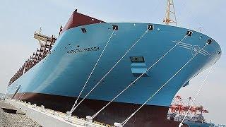 世界最大の貨物船「トリプルE」公開=全長400メートル、コンテナ1万8000個積載