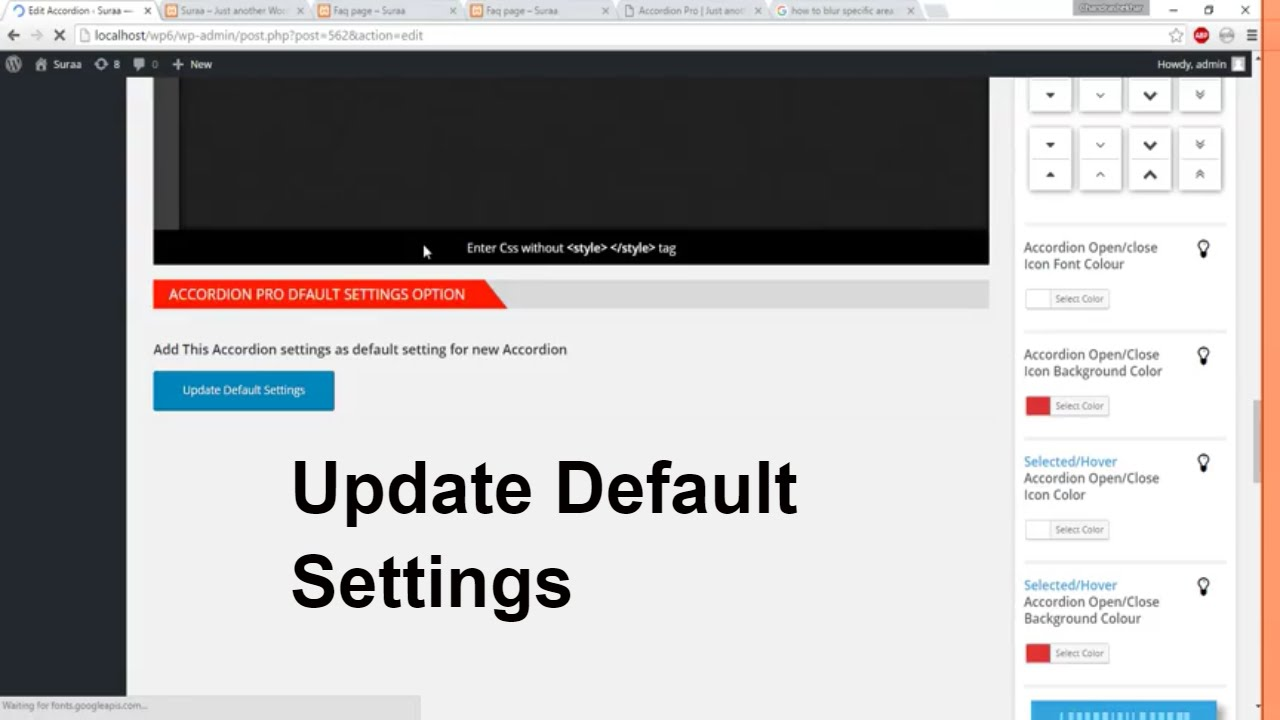How to Update Default Settings Of Accordion Pro