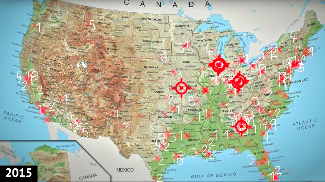 one year of mass shootings in the us mapped youtube
