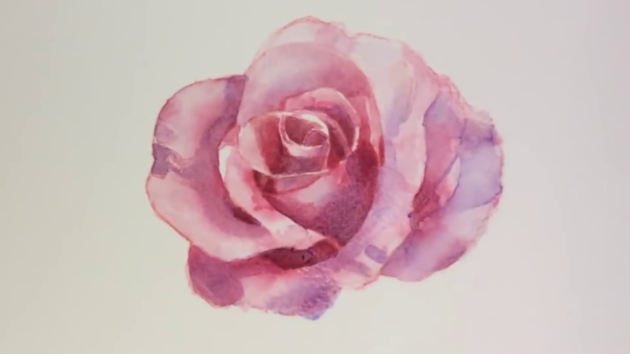 How to draw watercolor flower youtube for How to paint a rose watercolor