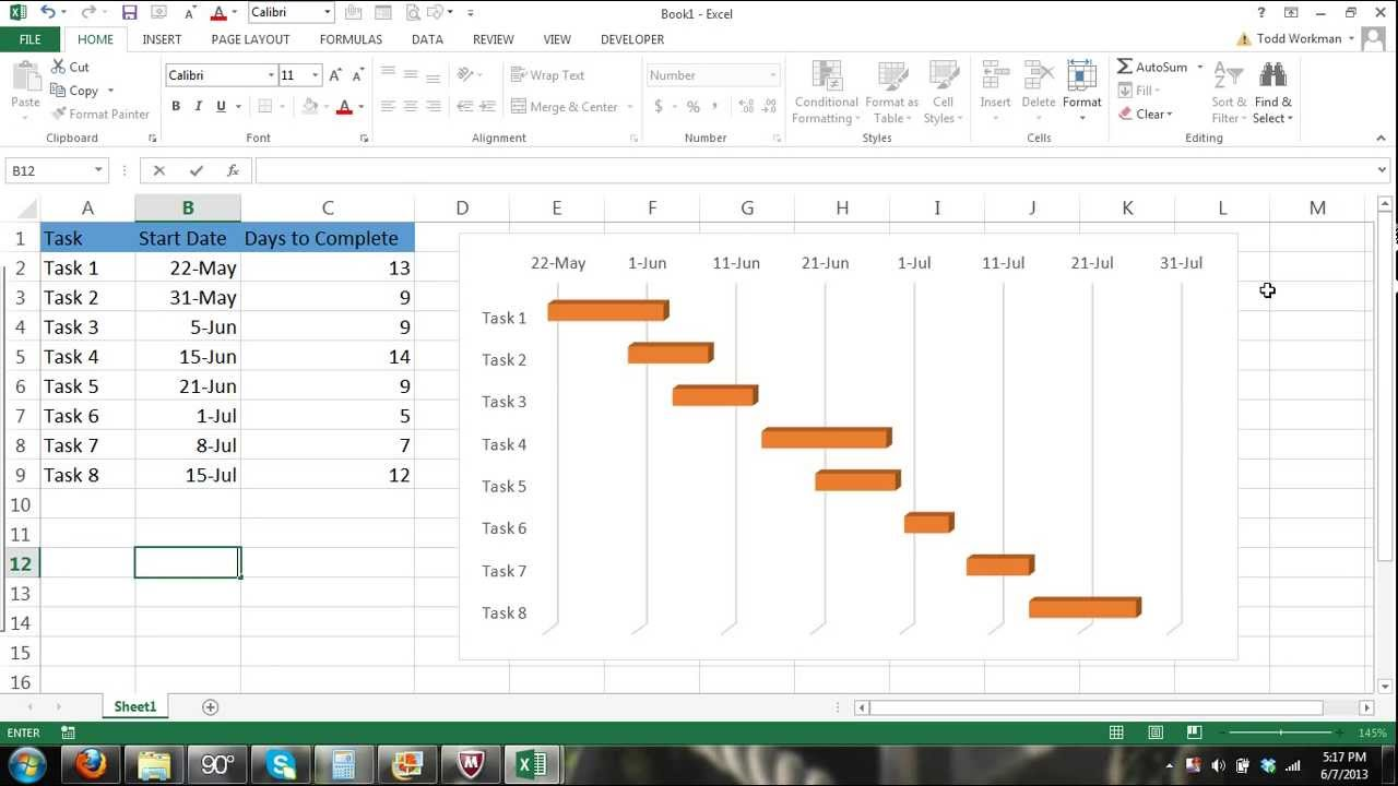small resolution of gantt chart excel tutorial how to make a basic gantt chart in microsoft excel 2013 youtube