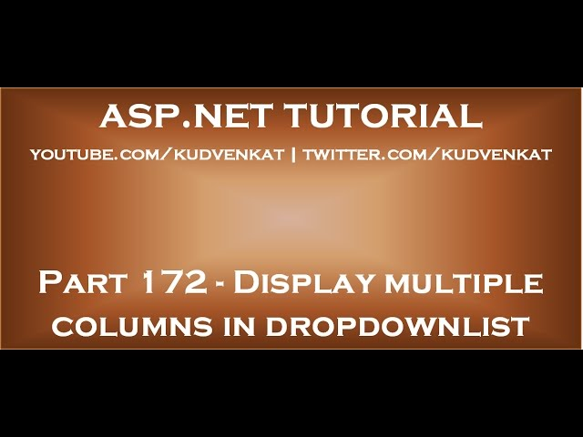 Display data from two or more database table columns in asp net dropdownlist