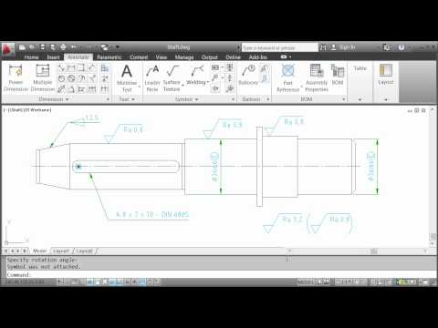 Annotating with Symbols — AutoCAD Mechanical 2012 - YouTube