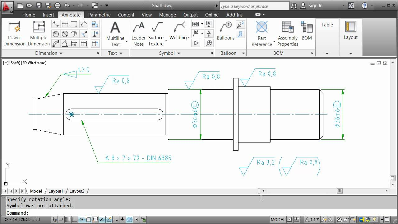 Annotating With Symbols Autocad Mechanical 2012 Youtube
