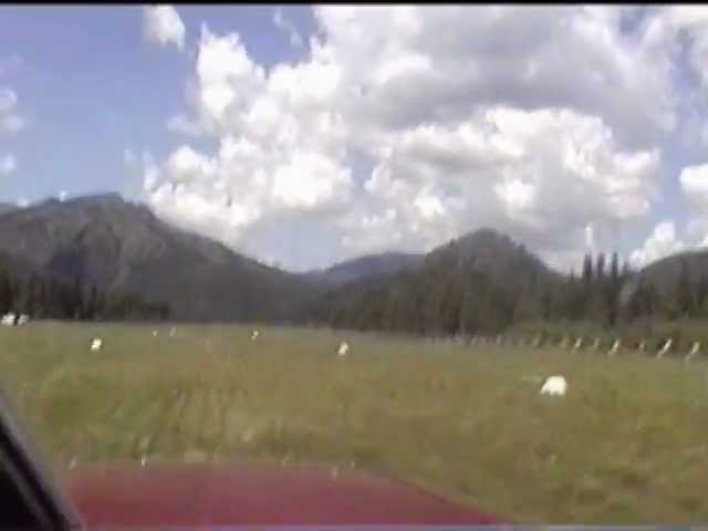 Takeoff from Schafer Meadows USFS airstrip, Montana