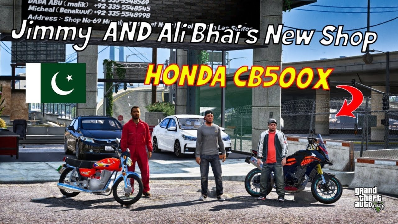 GTA 5 Pakistan | Jimmy and Ali Bhai's New Shop | Honda CB500X | Urdu