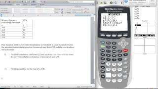 Finding The Correlation Coefficient and Line of Best Fit Using the TI 84