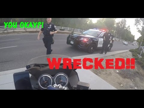 First Motorcycle CRASH!!! Cool Cop!