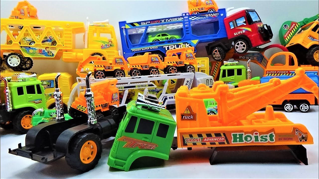 How to dismantle the super crane truck toys, truck toys and car toys for kids