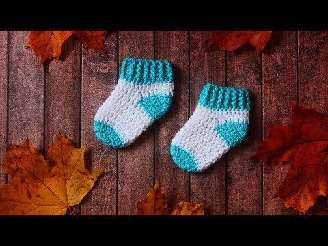 Шерстяные носки для новорожденных связать крючком