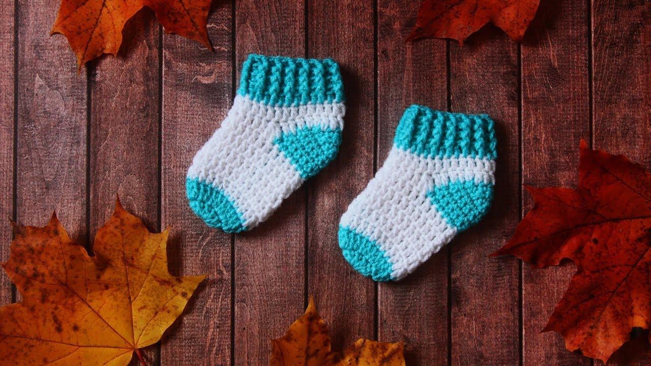 Носочки крючком для новорожденных | Как связать носочки крючком