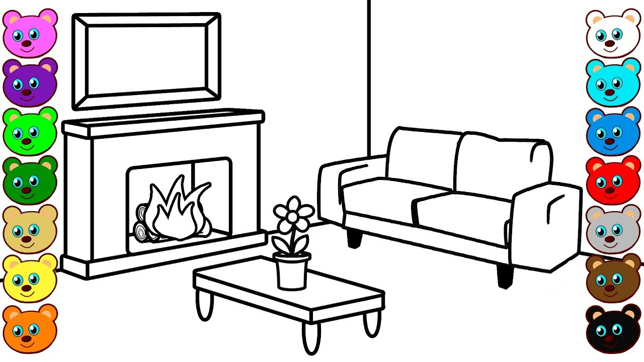 Fireplace Living Room - Coloring Pages for Children