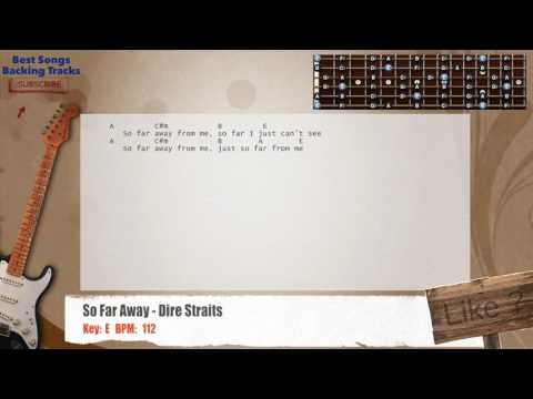 So Far Away - Dire Straits Guitar Backing Track with chords and lyrics