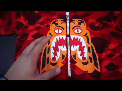 2016 Bathing Ape (BAPE) Tiger Face Red Color Camo Tee Shark Review & Unboxing!