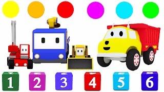 Lerne Formen, Zahlen Farben mit den kleinen Trucks: Planierraupe, Kran, Bagger