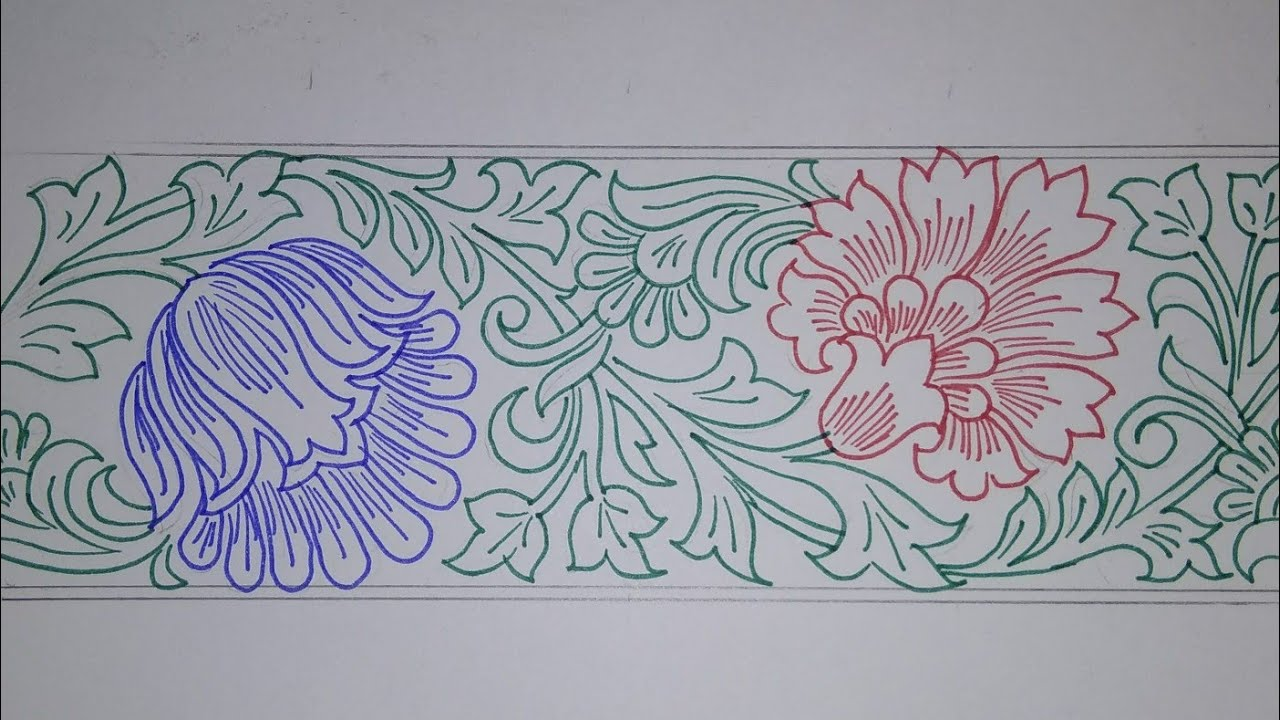 Border design draw saree border for embroidery designs pencil sketch designs for hand embroidery