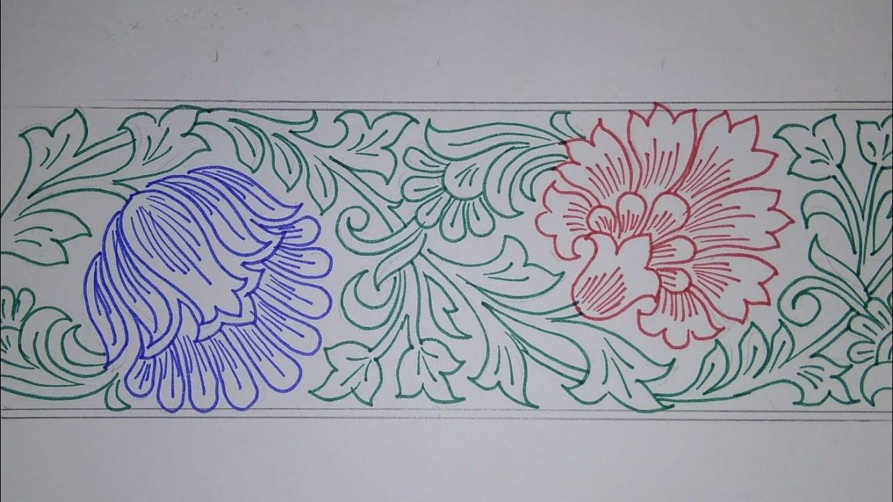 Border Design Draw Saree Border For Embroidery Designs Pencil