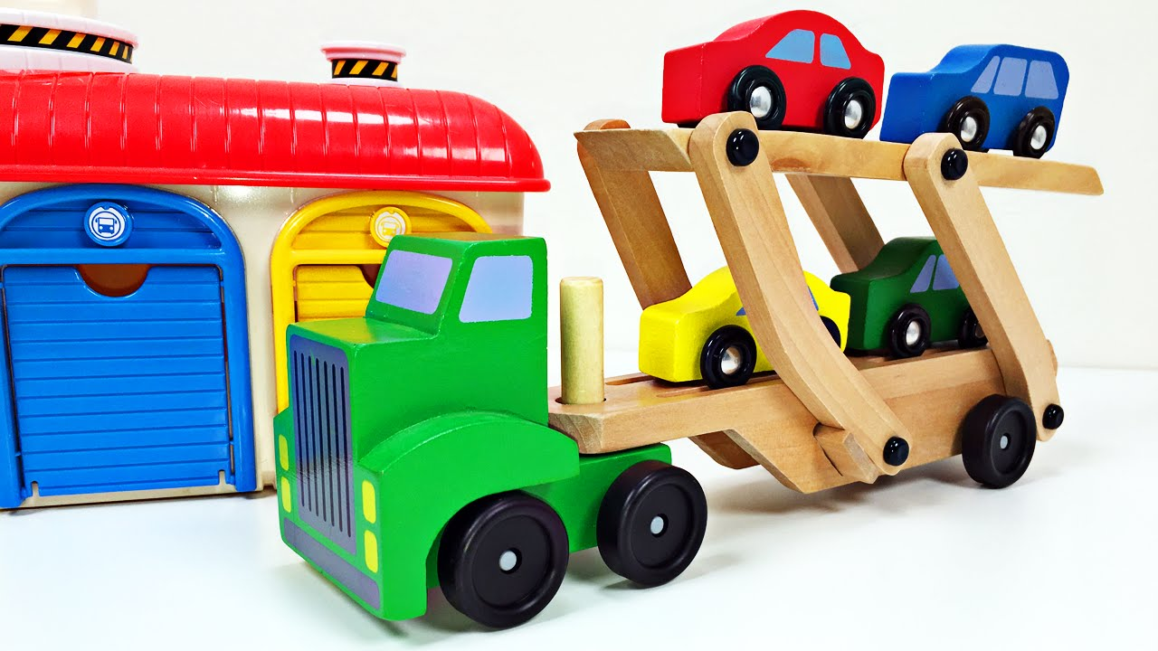 Big Toy Car Holder : Big rig car carrier teaching colors for kids learning