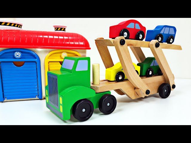 Big Rig Car Carrier Teaching Colors for Kids #1 Learning Colours Video for Children Organic Learning