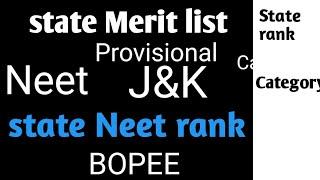 J&k provisional merit list || NEET j&k state rank list