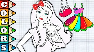 Glitter Barbie Coloring book for kids learn colors