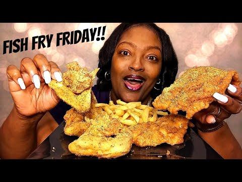 FISH FRY FRIDAY | LEMON PEPPER CATFISH AND CHICKEN WINGS 물고기와 닭 날개 먹방 | MUKBANG