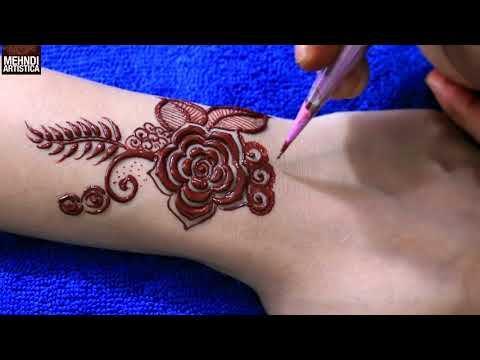 Unique Coloured Floral Mehndi Tattoo Design For Beginners 2018 (Henna Mehendi Designs)