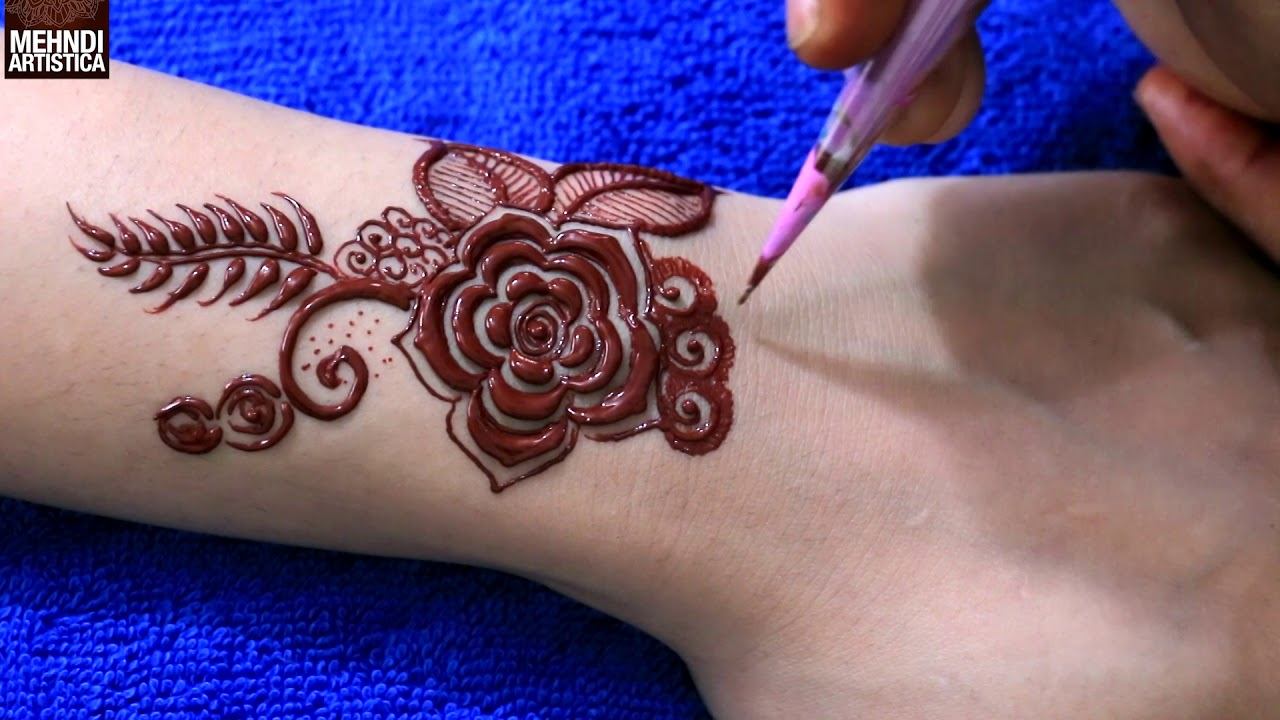 Henna Mehndi Tattoo Designs Idea For Wrist: Unique Coloured Floral Mehndi Tattoo Design For Beginners