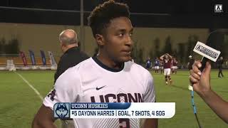 Uconn men's soccer dayonn harris scored the game-winner in a first-round match against no. 5 seed temple. hear it from r-junior.