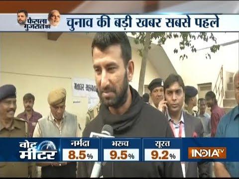 Gujarat Elections 2017: Cricketer Cheteshwar Pujara casts his vote in Rajkot's Ravi Vidayalaya booth