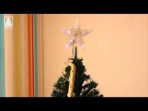 Cimier de sapin lumineux forme etoile a pile blanc youtube - Cimier de sapin ...