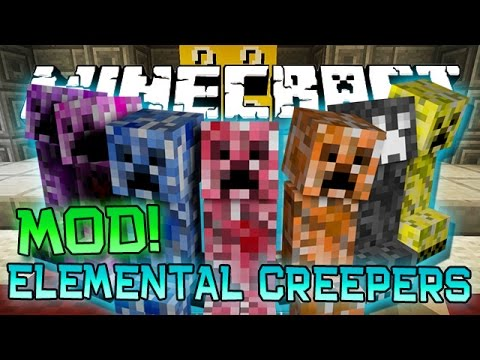 "Minecraft ""ELEMENTAL CREEPERS"" MOD! (Firework, Ice, MUTANT SPIDER, and Cake Creepers) Mod Showcase"