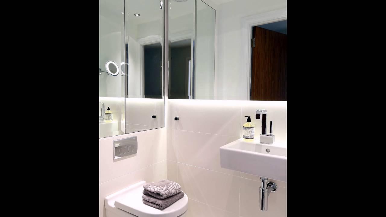 Kleine Badezimmer Design mit großen Spiegel an der Wand - YouTube
